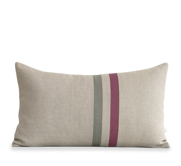 Striped Lumbar Pillow - Amethyst, Stone Grey and Natural Linen