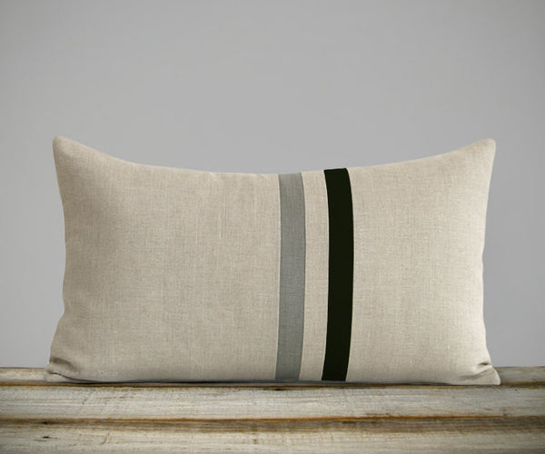 Striped Lumbar Pillow - Black, Stone Grey and Natural Linen
