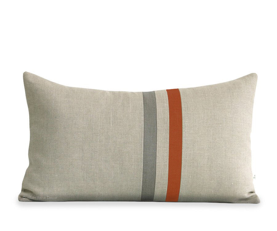 Striped Lumbar Pillow - Burnt Orange, Stone Grey and Natural Linen