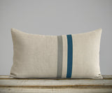 Striped Lumbar Pillow - Lake, Stone Grey and Natural Linen