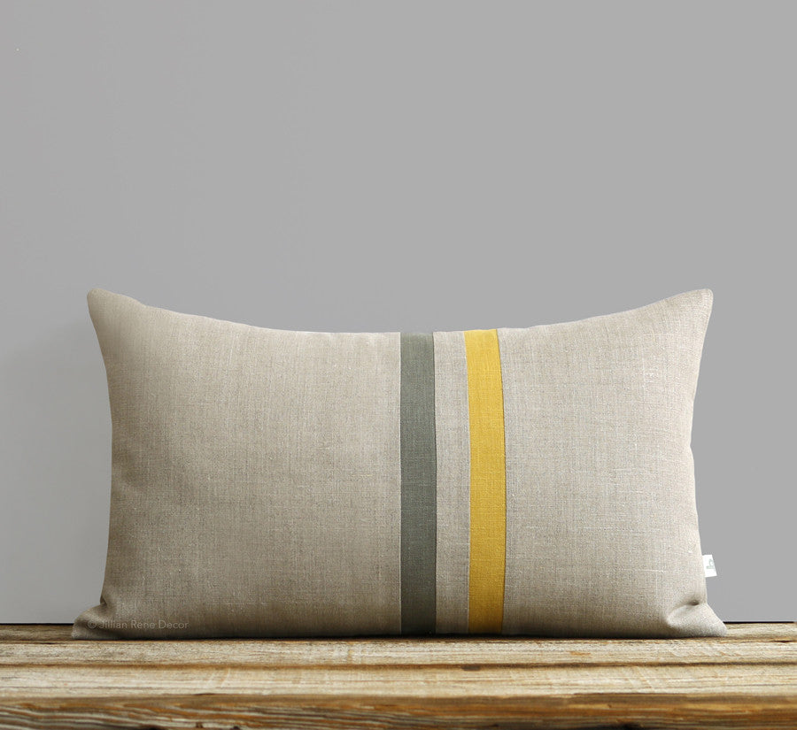 Skinny Striped Pillow - Squash, Stone Grey and Natural Linen