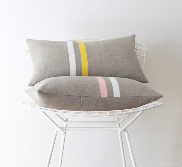 12x20 Striped Lumbar Pillow - Rose Quartz or Yellow