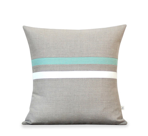 Aqua and Cream Striped Pillow