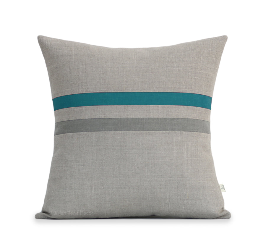 Striped Lumbar Pillow - Biscay Bay, Stone Grey and Natural Linen