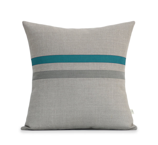 Striped Pillow - Biscay Bay, Stone Grey and Natural Linen