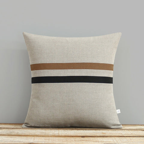 Caramel and Black Striped Pillow