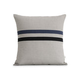 Striped Lumbar Pillow - Black, Navy Blue and Natural Linen