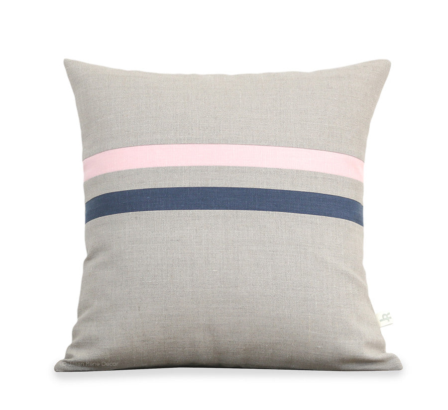 Rose Quartz and Navy Striped Pillows