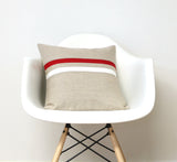 Striped Pillow - Poppy Red, Cream and Natural Linen