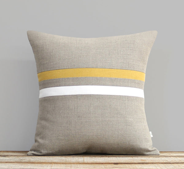 Striped Pillow - Squash, Cream and Natural