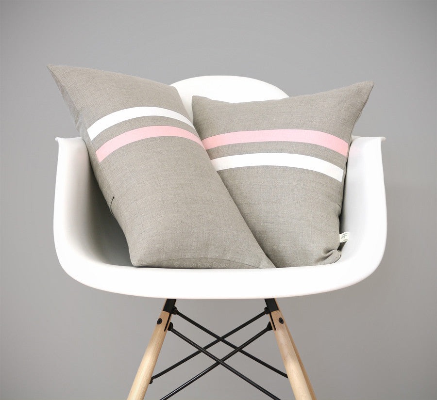 Rose Quartz Striped Pillow