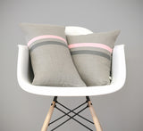 Rose Quartz and Grey Striped Pillows