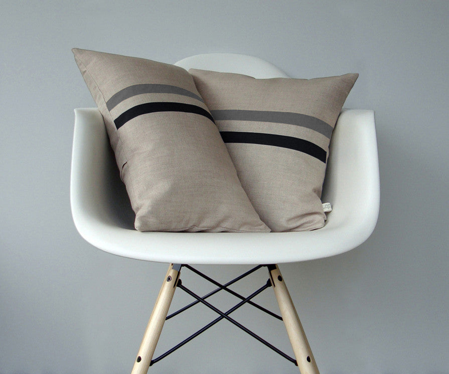 Striped Pillow - Grey/Navy/Natural