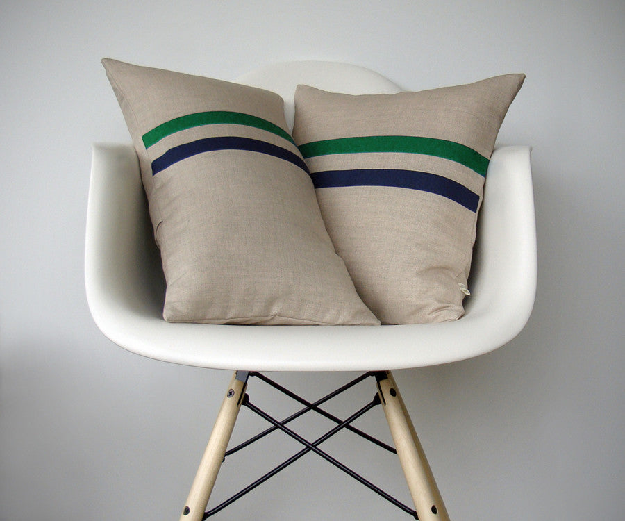 Striped Pillow - Kellyl/Navy/Natural