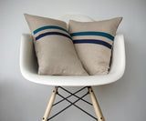 Striped Pillow - Teal, Navy and Natural