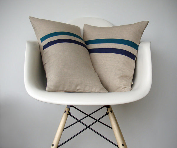 Striped Pillow - Teal/Navy/Natural