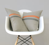 Striped Lumbar Pillow - Pumpkin, Stone Grey and Natural Linen