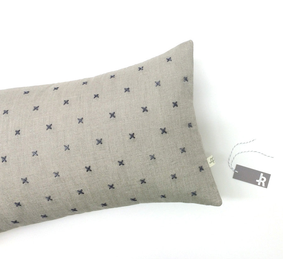 Stitched Linen Pillow - Grey and Natural