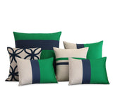 Kelly Green and Navy Pillow Set of 6