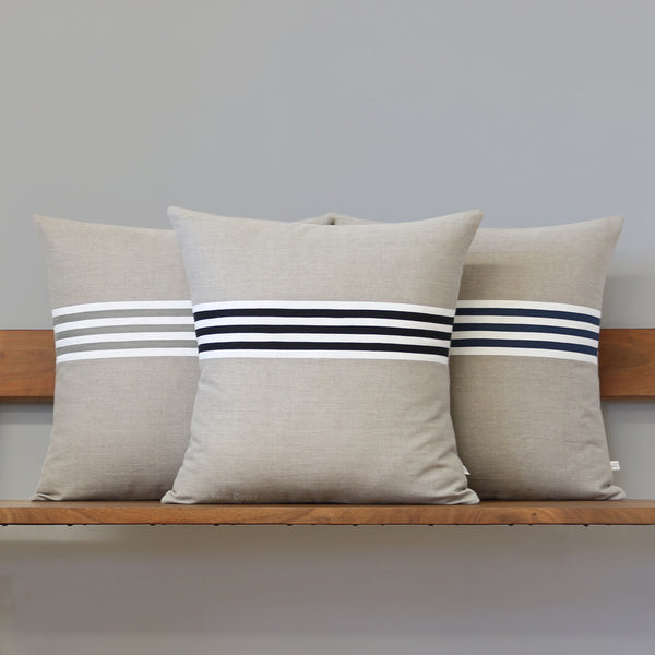 Banded Stripe Pillow - Black, Cream and Natural