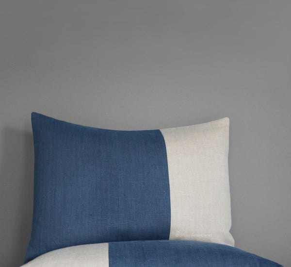 Two Tone Colorblock Pillow Shams - Navy and Natural