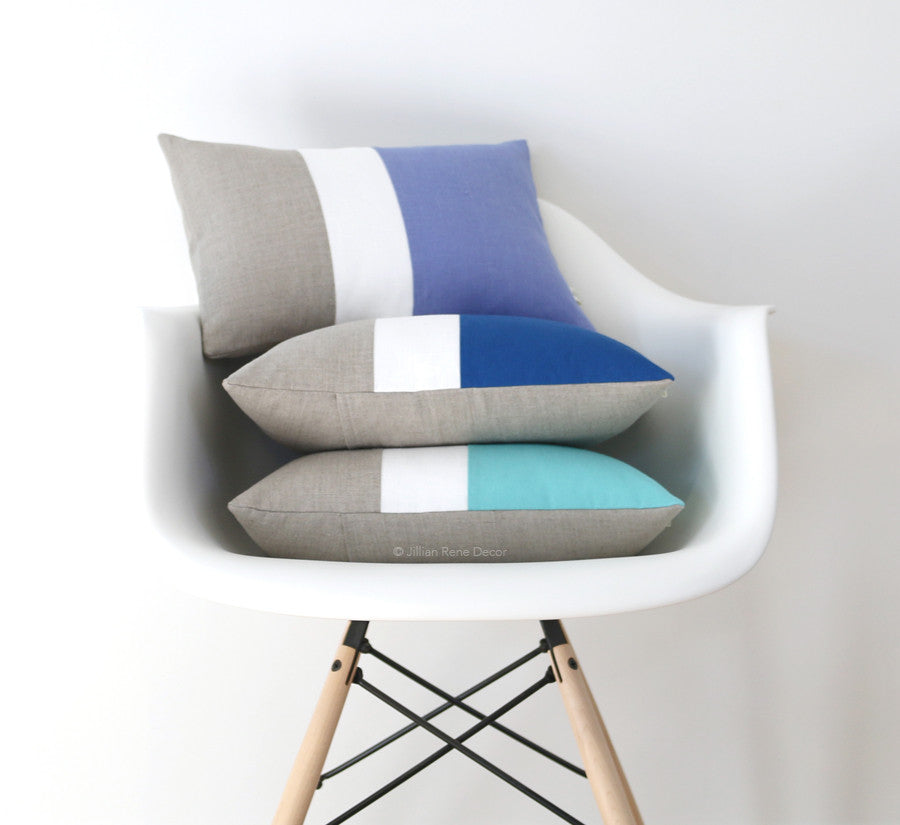Colorblock Pillow Covers - Serenity, Cobalt or Mint