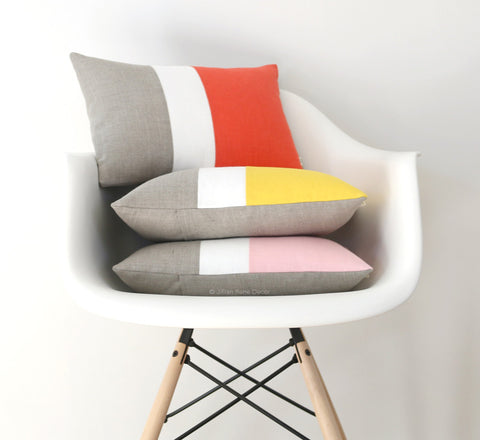 Colorblock Pillow Covers - Coral, Yellow or Pastel Pink
