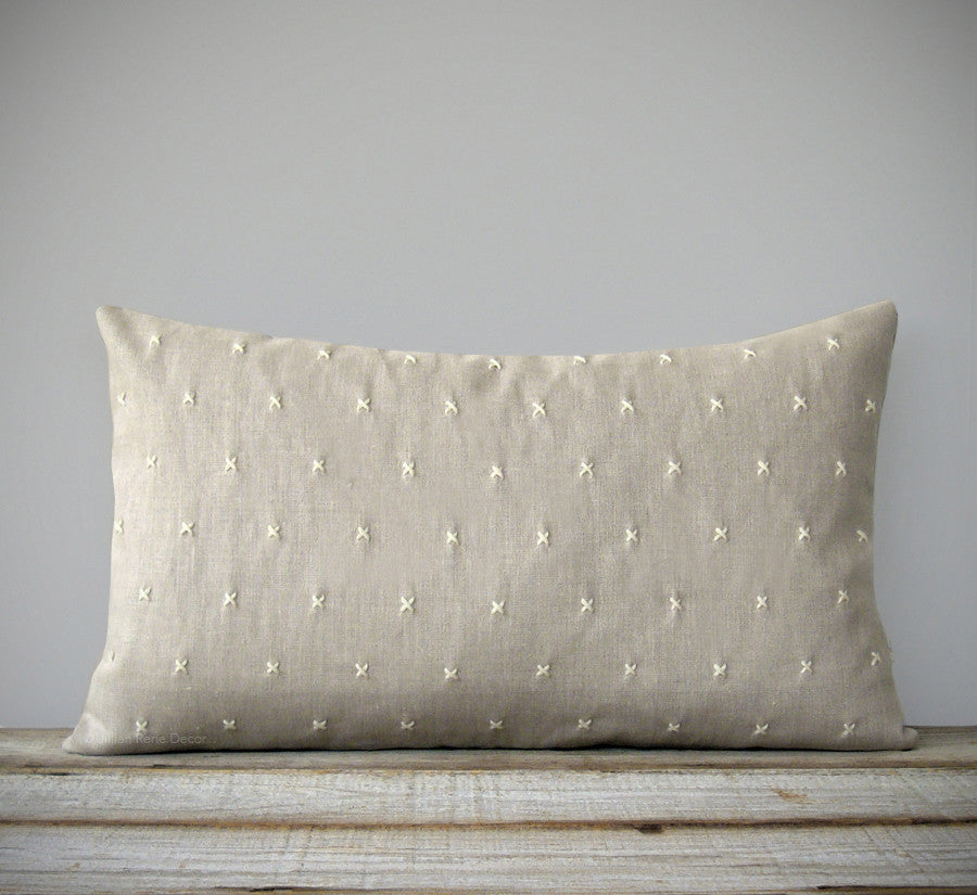 Stitched Linen Pillow - Cream and Natural