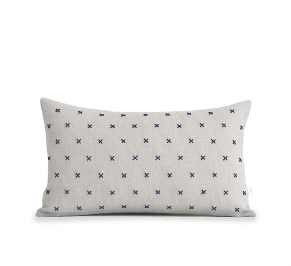 Stitched Linen Pillow - Navy and Natural