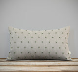 Stitched Linen Pillow - Olive and Natural