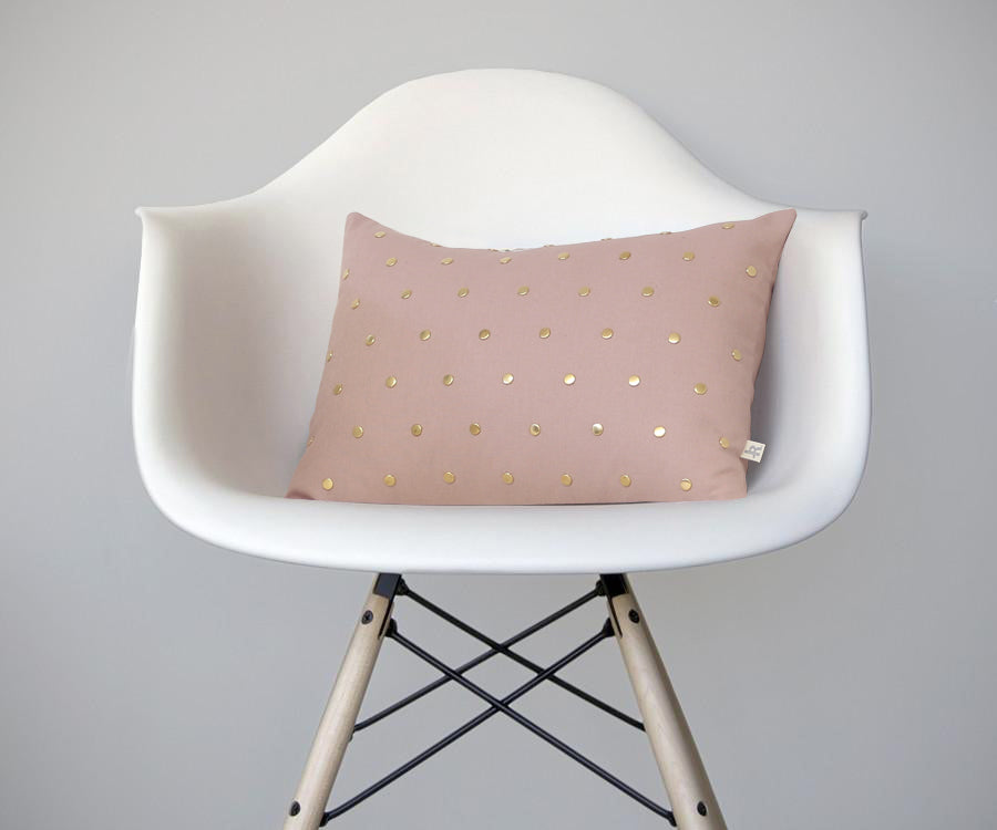 Studded Pillow - Blush Linen