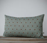 Quilted Stud Pillow - Copper and Sage Linen