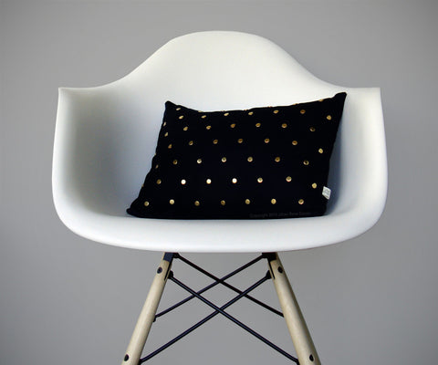 Studded Pillow - Black Linen