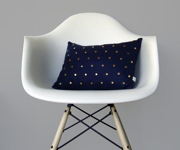 Studded Pillow - Navy Linen