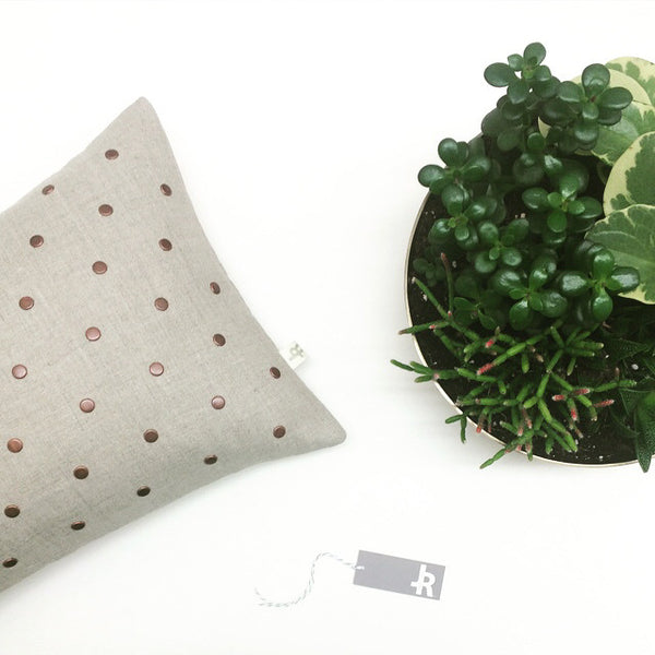 Studded Pillow - Natural Linen