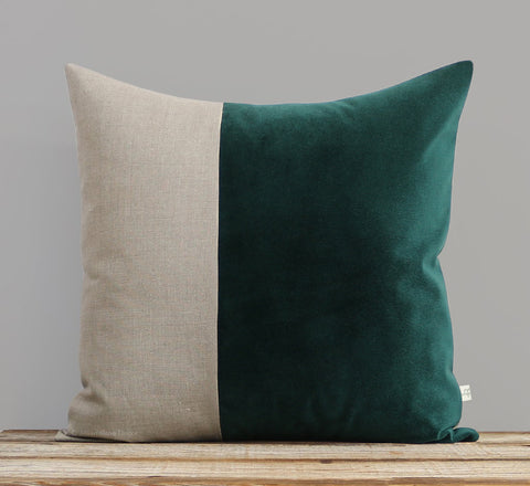 Velvet Colorblock Pillow - Lagoon