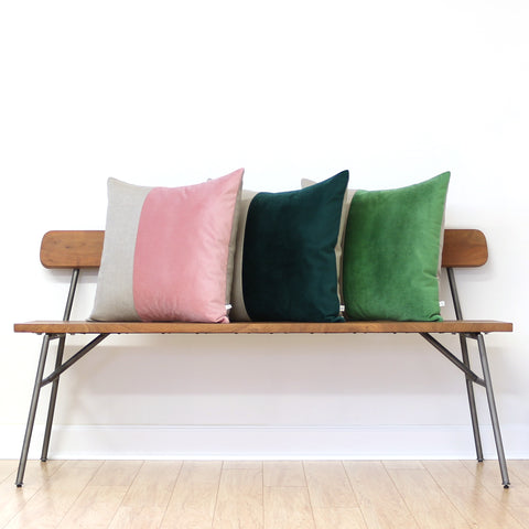Velvet Colorblock Pillow - Mauve or Grass Green