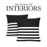 Multi Stripe Pillow - Black and Cream