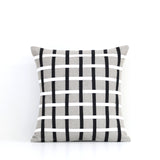 Woven Pillow - Black, Cream and Natural Linen
