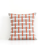 Woven Pillow - Burnt Orange, Cream and Natural Linen