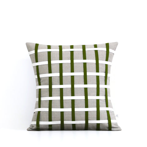 Woven Pillow - Olive, Cream and Natural Linen