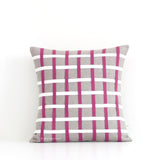 Woven Pillow - Sangria, Cream and Natural Linen
