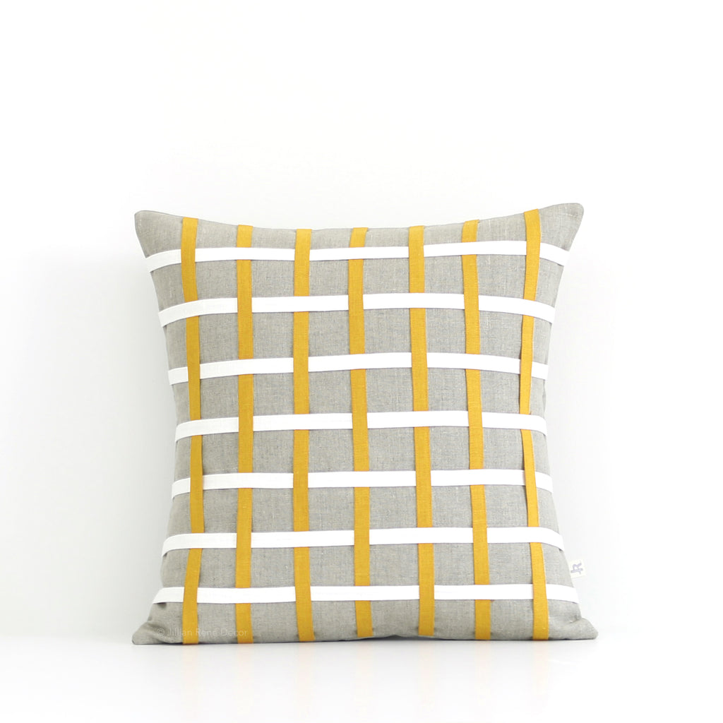 Woven Pillow - Squash, Cream and Natural Linen