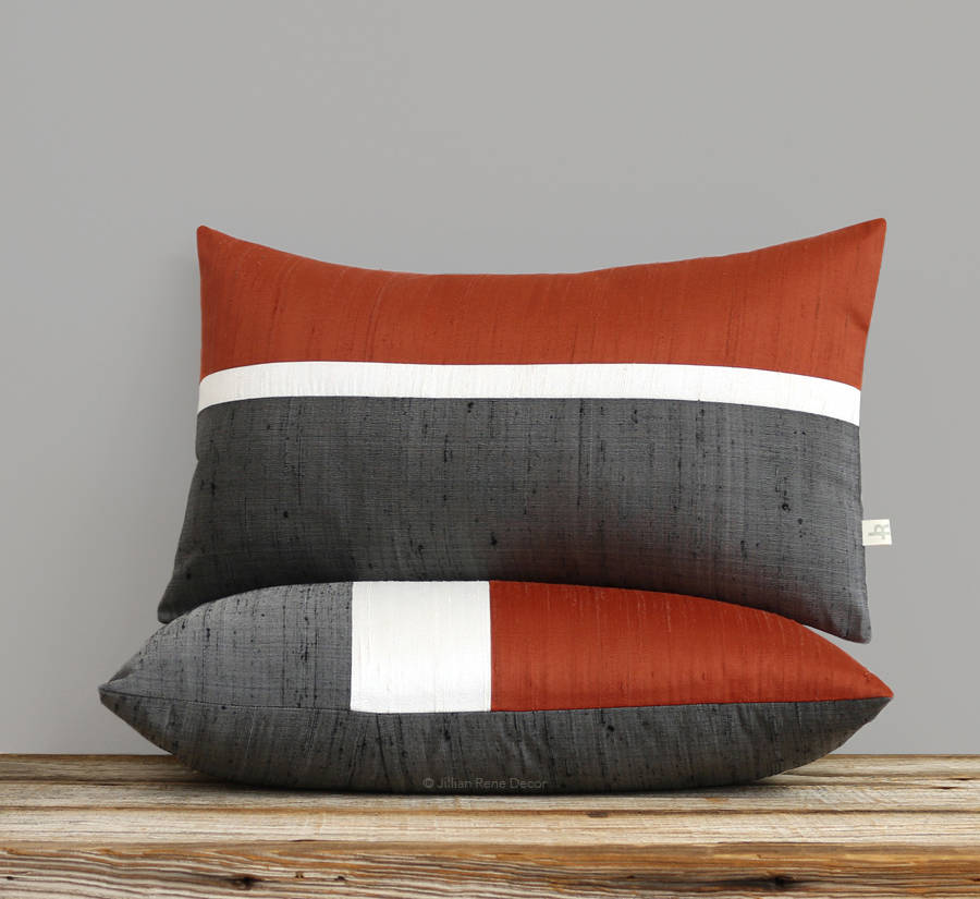 Silk Horizon Line Pillow - Copper