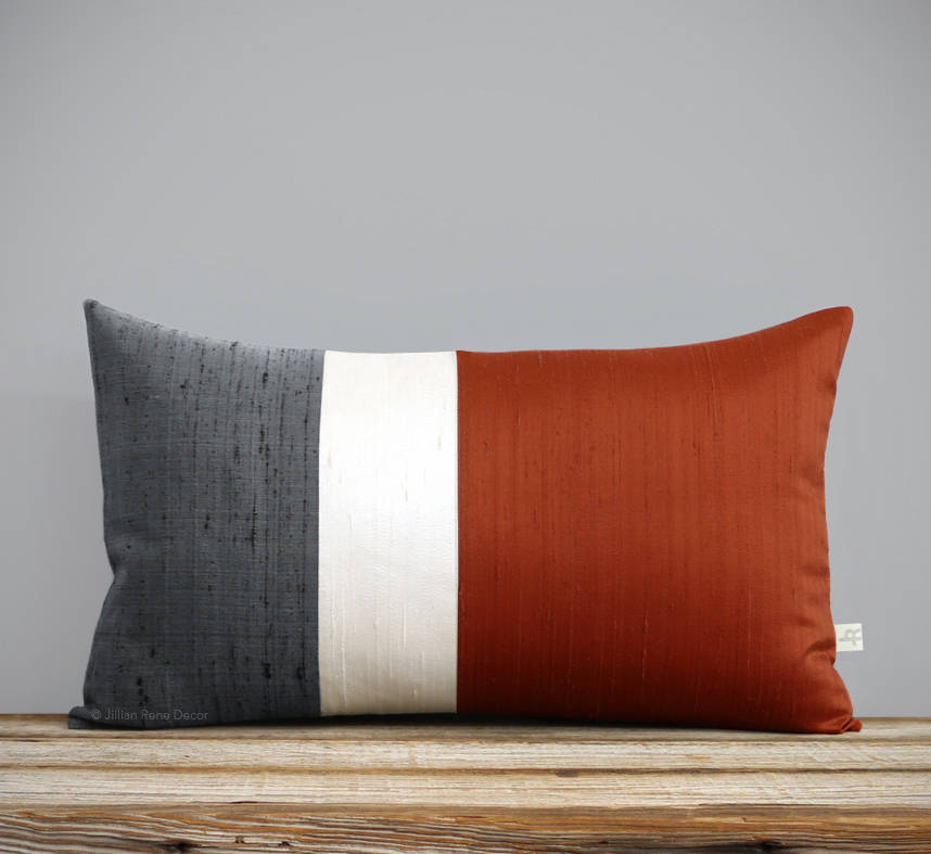 Silk Colorblock Pillow - Copper