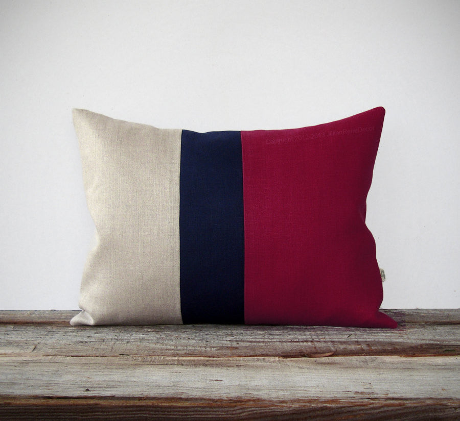 Colorblock Pillow - Crimson/Navy/Natural
