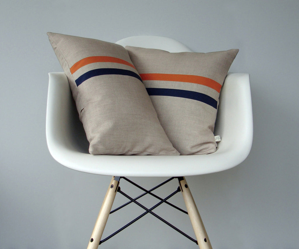 Striped Pillow - Orange/Navy/Natural