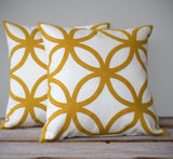 Geometric Pillow - Mustard and Cream Linen