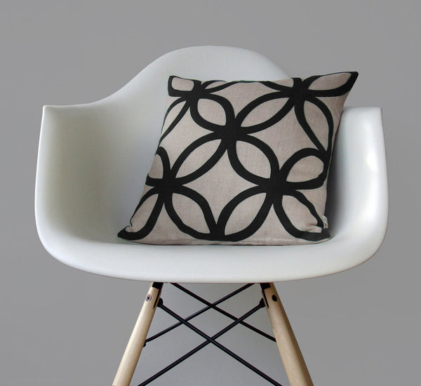 Geometric Pillow - Black and Natural Linen