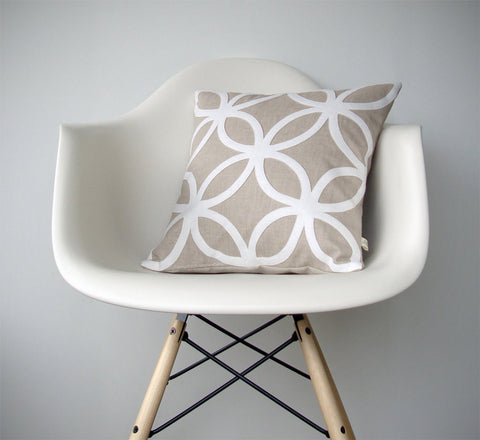 Geometric Pillow - Cream and Natural Linen
